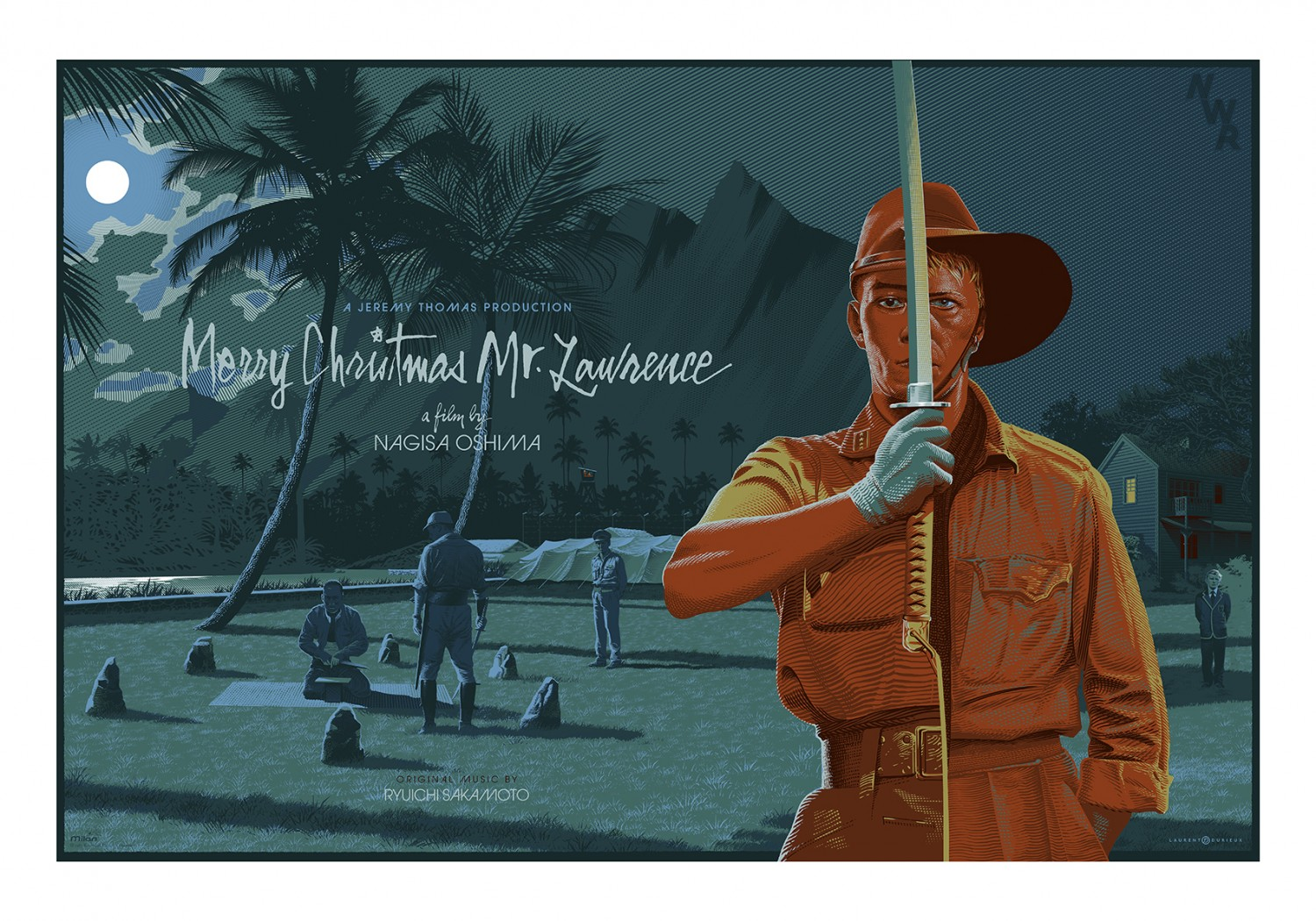 """Merry Christmas Mr. Lawrence"" by Laurent Durieux.  39,37"" x 27,56"" 10-color Screenprint Printed on Arches Paper.  Ed of 40 S/N.  100 euros ($107) (variant)"