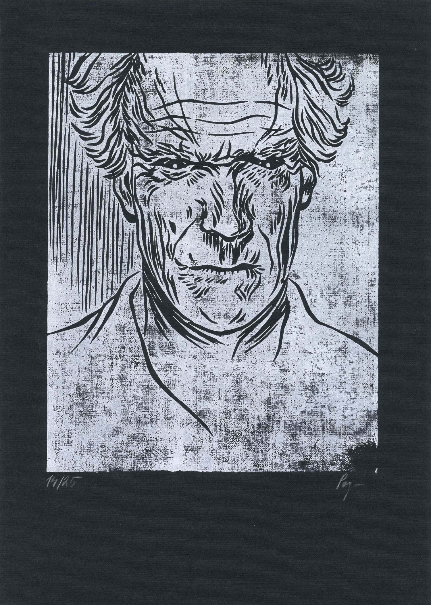 """Mr. Eastwood"" by Anna Rosliakova.  11,7"" x 16,41"" Linocut.  Ed of 25 S/N."