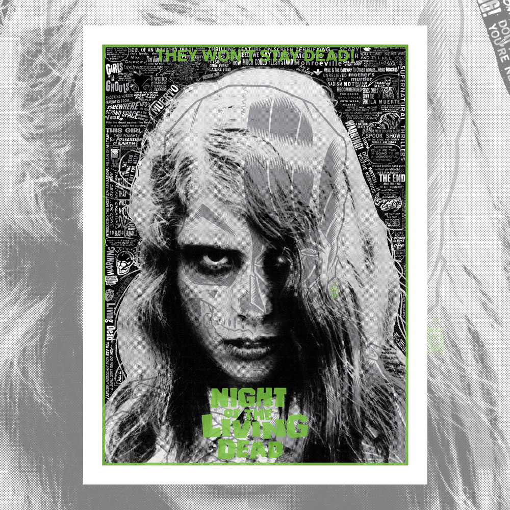 """Night of the Living Dead"" by Brian Ewing.  18"" x 24"" 3-color Screenprint.  Ed of 125 N.  $40"