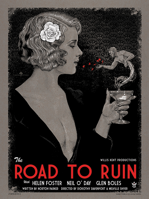 """The Road To Ruin"" by Timothy Pittides.  18"" x 24"" 3-color Screenprint.  Ed of 75.  $35"