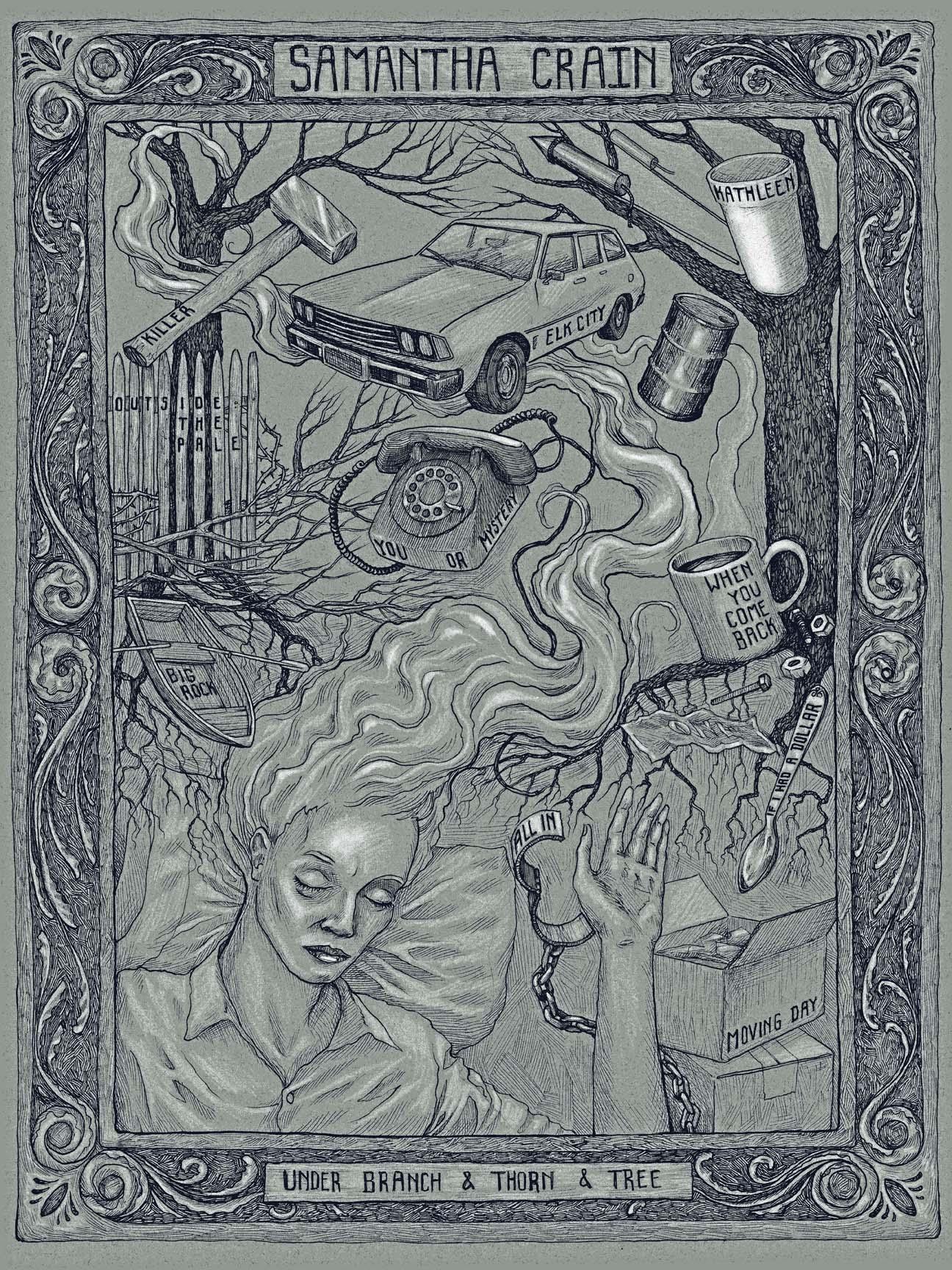"""Samantha Crane - Under Branch & Thorn & Tree"" by Bjorn Bauer.  18"" x 24"" 2-color Screenprint.  AP edition S.  $20"