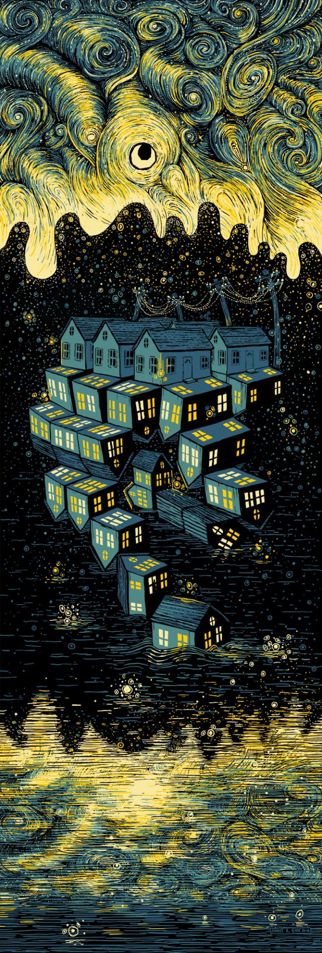 """The Neighborhood Unfolding"" by James R Eads.  12"" x 36"" 4-color Screenprint.  Ed of 60 S/N.  $50"