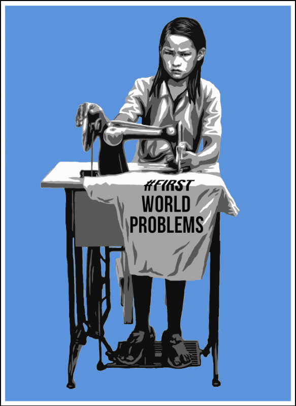 """#FirstWorldProblems"" by AX.  18"" x 24"" 4-color Screenprint.  Timed edition S/N.  $50 (blue)"