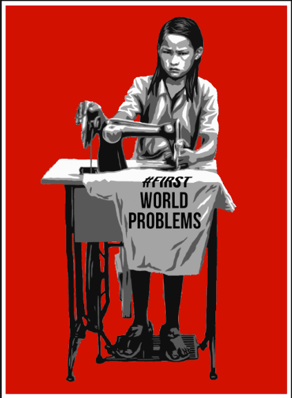 """#FirstWorldProblems"" by AX.  18"" x 24"" 4-color Screenprint.  Ed of 50 S/N.  $100 (red)"