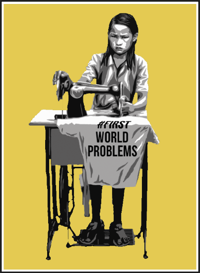 """#FirstWorldProblems"" by AX.  18"" x 24"" 4-color Screenprint.  Ed of 50 S/N.  $100 (yellow)"