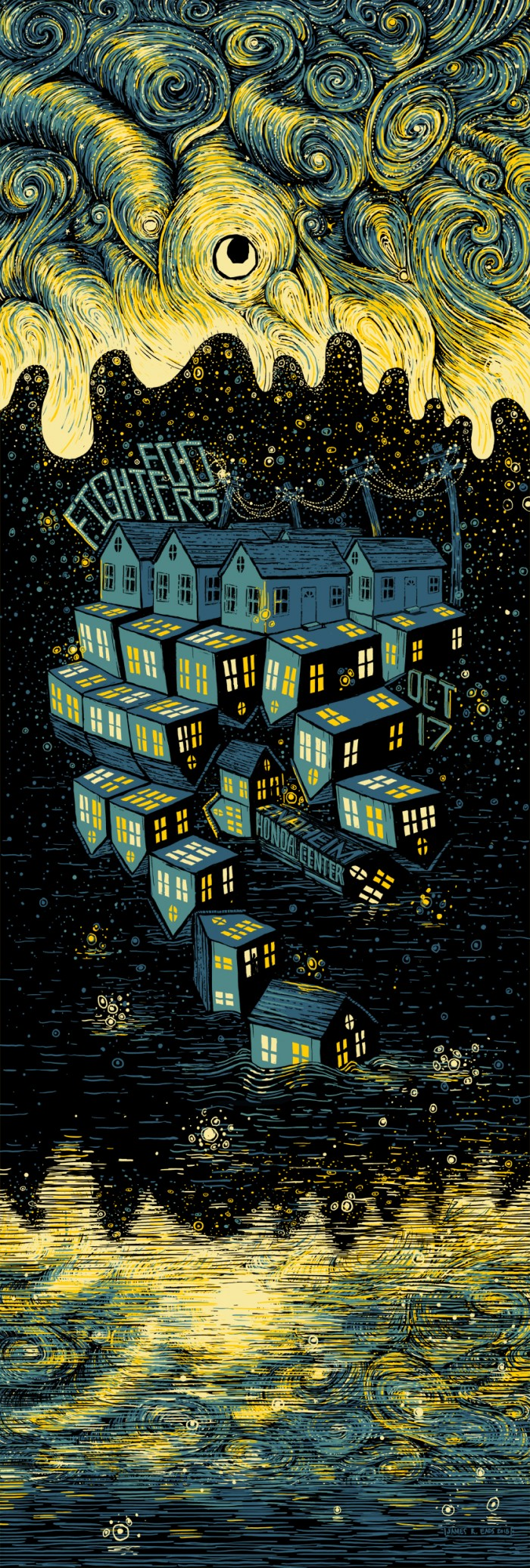 """Foo Fighters - Anaheim, CA 2015"" by James R Eads.  12"" x 36"" 4-color Screenprint.  AP edition of 60 S/N.  $40"