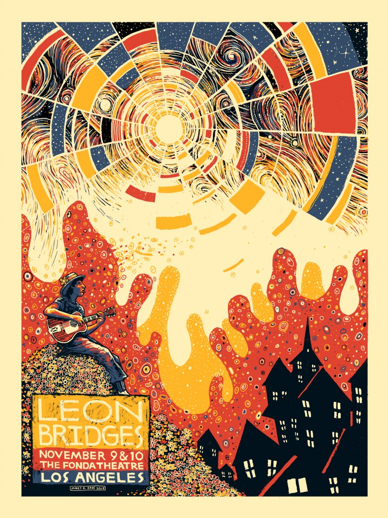 """Leon Bridges - Los Angeles, CA 2015"" by James R Eads.  18"" x 24"" 4-color Screenprint.  AP edition of 50 S/N.  $25"