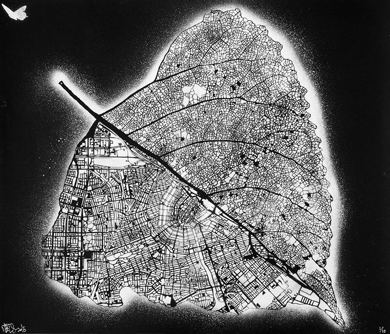 """Tilia Cordata Amsterdam"" by Nils Westergard.  70 x 60cm Stencil/Spraypaint.  Ed of 10.  100 Euro ($107)"