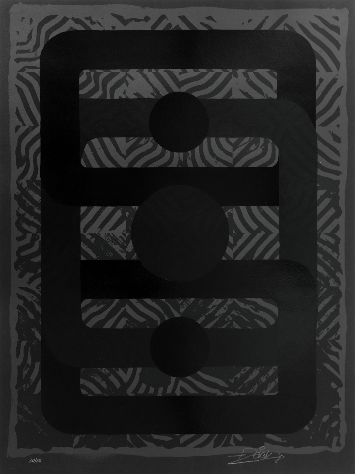 """_0101010_BLK"" by Revok.  60 x 80cm 4-color Screenprint.  Ed of 20 S/N.  €480 ($522)"