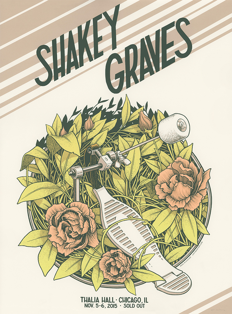 """Shakey Graves - Chicago, IL 2015"" by Justin Santora.  18"" x 24"" 4-color Screenprint.  Ed of 200 S/N.  $20"