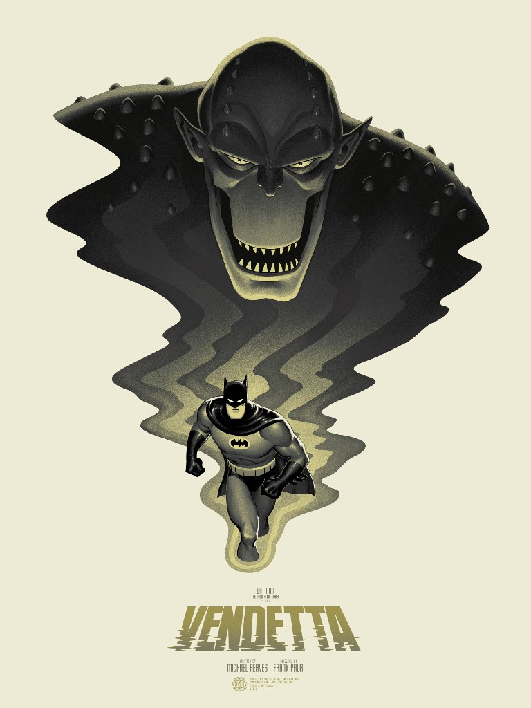 "Batman: The Animated Series - Vendetta by Phantom City Creative. 18""x24"" screen print. Hand numbered. Edition of 250. Printed by D&L Screenprinting. $45"