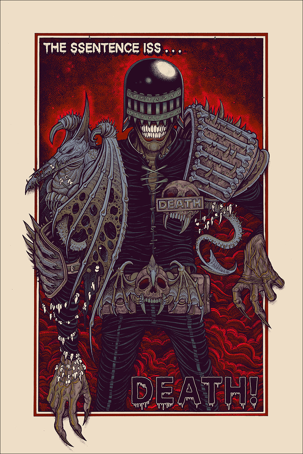 "Judge Death (Variant) by Florian Bertmer. Premiered at Thought Bubble UK. 24""x36"" screen print. Hand numbered. Edition of 125. Printed by D&L Screenprinting. $65"