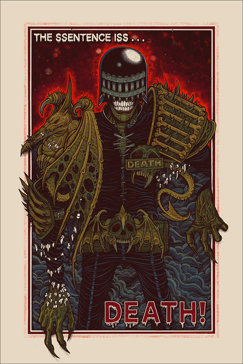 "Judge Death by Florian Bertmer. 24""x36"" screen print. Hand numbered. Edition of 225. Printed by D&L Screenprinting. $45"