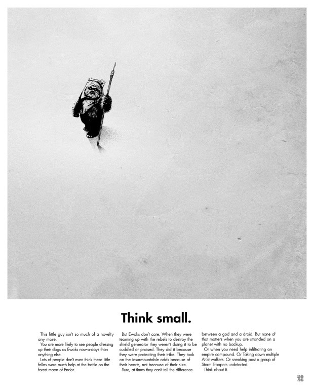 """Think Small"" by Justin Van Genderen.  16.5"" x 20.5"" Screenprint.  Ed of 250 S/N.  $34.95"