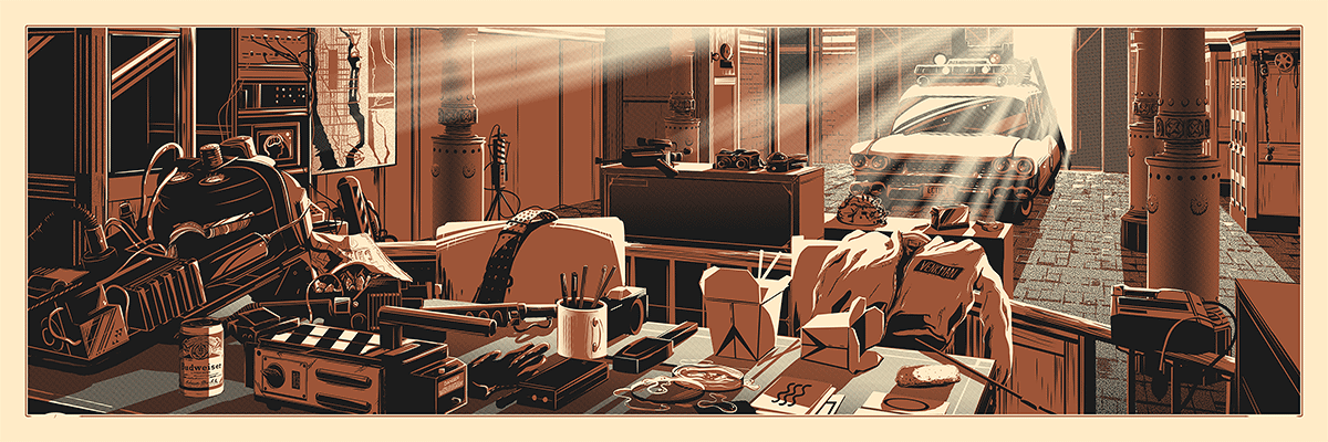 """The Desk of Dr. Venkman"" by Rob Loukotka.  36"" x 12"" 2-color Screenprint.  Ed of 325 S/N.  $45"