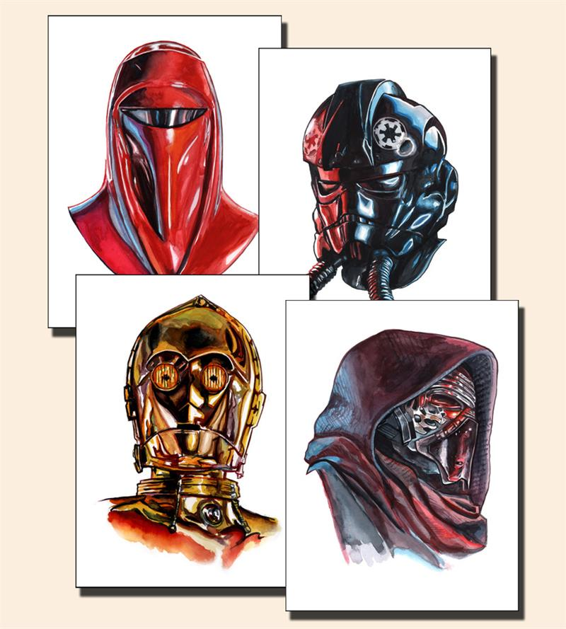 "'Shiny Objects' Star Wars prints by Tim Doyle.  (4) 12"" x 16"" Giclees.  Ed of 150 S/N.  $30 each : $100 set"