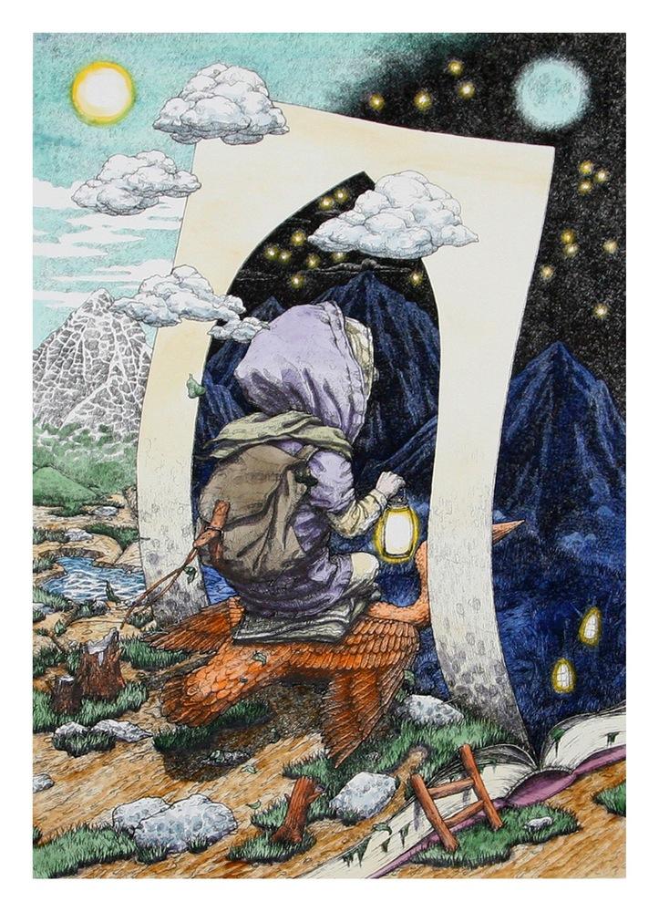 """Day & Night"" by Rustam Qbic.  70 x 50cm Screenprint, hand-finished.  Ed of 20 S/N.  $350"