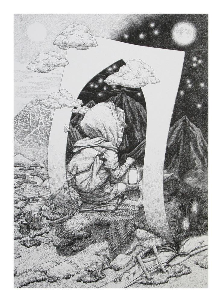 """Day & Night"" by Rustam Qbic.  70 x 50cm Screenprint.  Ed of 20 S/N.  $135"