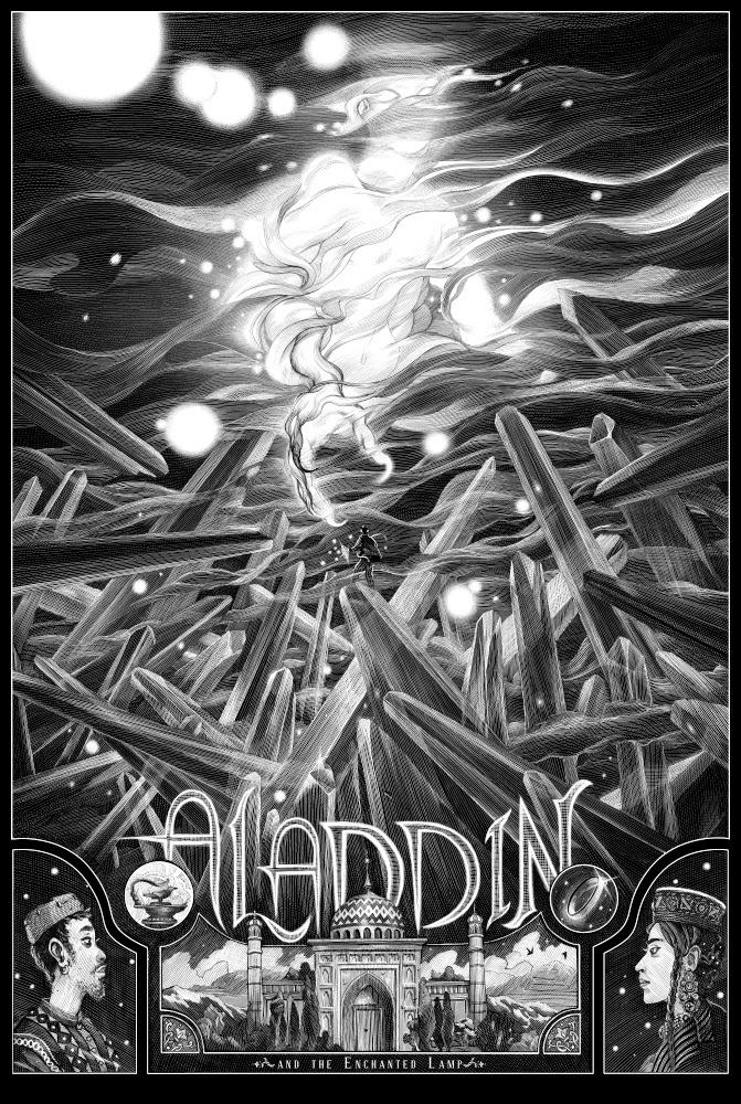 """Aladdin"" by Nicolas Delort.  24"" x 36"" 3-color Screenprint.  Ed of 120 N.  £50 ($75)"