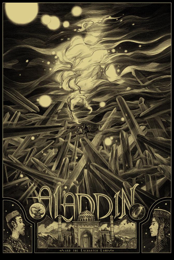 """Aladdin"" by Nicolas Delort.  24"" x 36"" 3-color Screenprint.  Ed of 30 N.  £80 ($121) (Gold Variant)"
