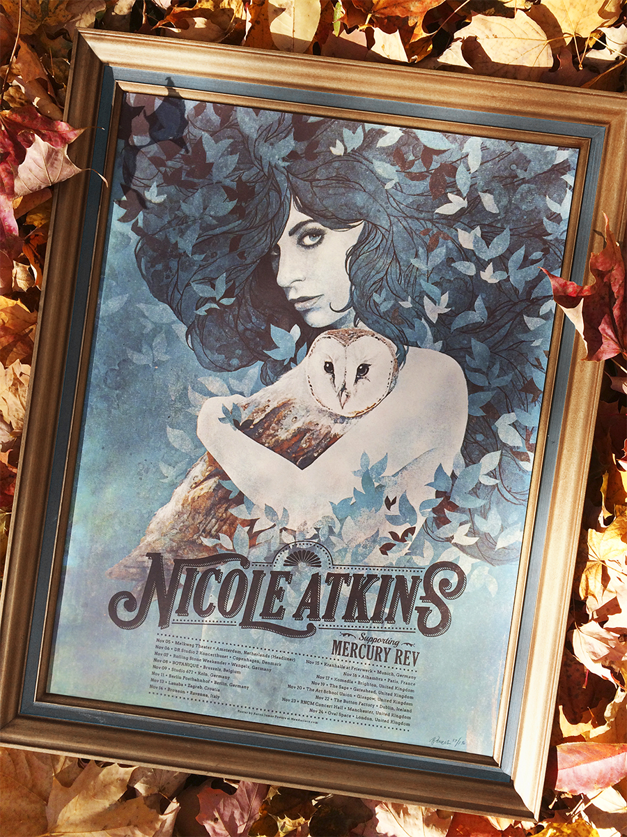 """Nicole Atkins/Mercury Rev - European Tour 2015"" by Aaron Powers.  17 3/4"" x 23 1/2"" 5-color Screenprint.  AP edition of 30 S/N.  $40"