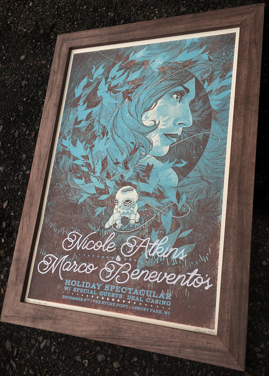 """Nicole Atkins/Marco Benevento - Asbury Park, NJ 2015"" by Aaron Powers.  16"" x 20"" 4-color Screenprint.  Ed of 30 S/N.  $30"