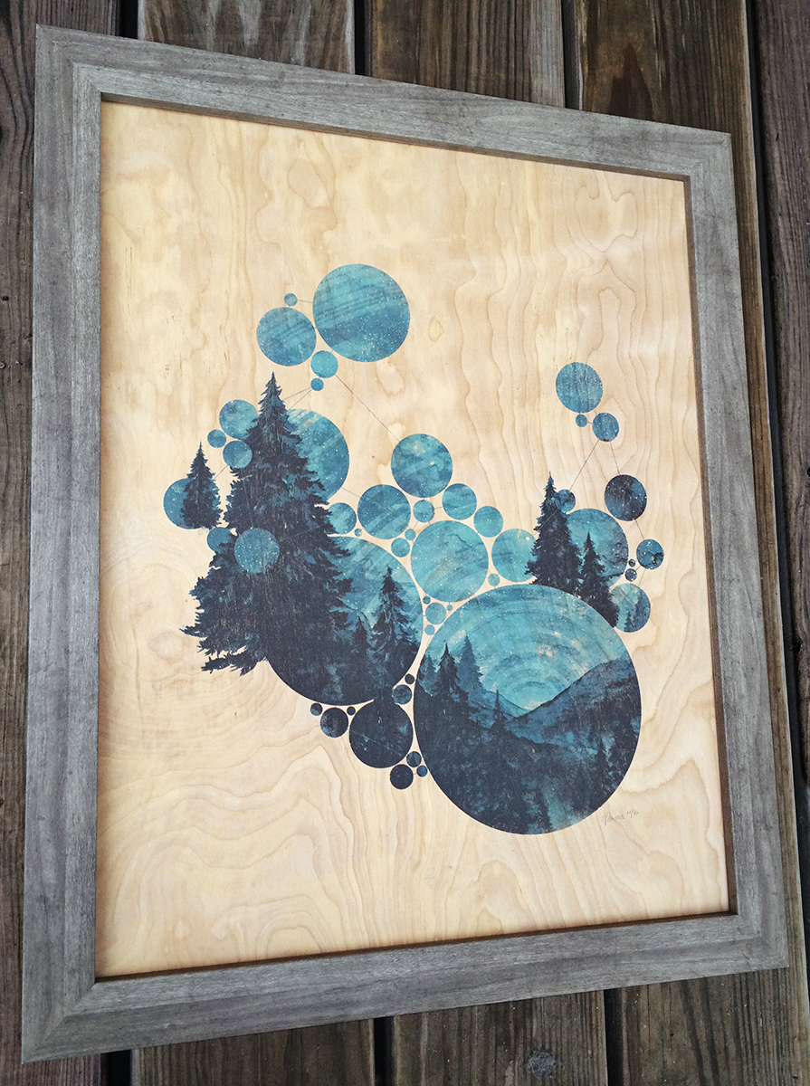 """""""From Further East Now"""" by Aaron Powers.  16""""  x 20"""" 4-color Screenprint.  Paper (Ed of 40, $40) : Plywood (Ed of 30, $75)"""