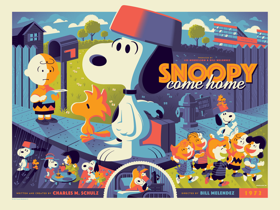 """Snoopy Come Home"" by Tom Whalen.  18"" x 24"" Screenprint.  Standard (Ed of 280, $65) : Foil (Ed of 10, $150)"