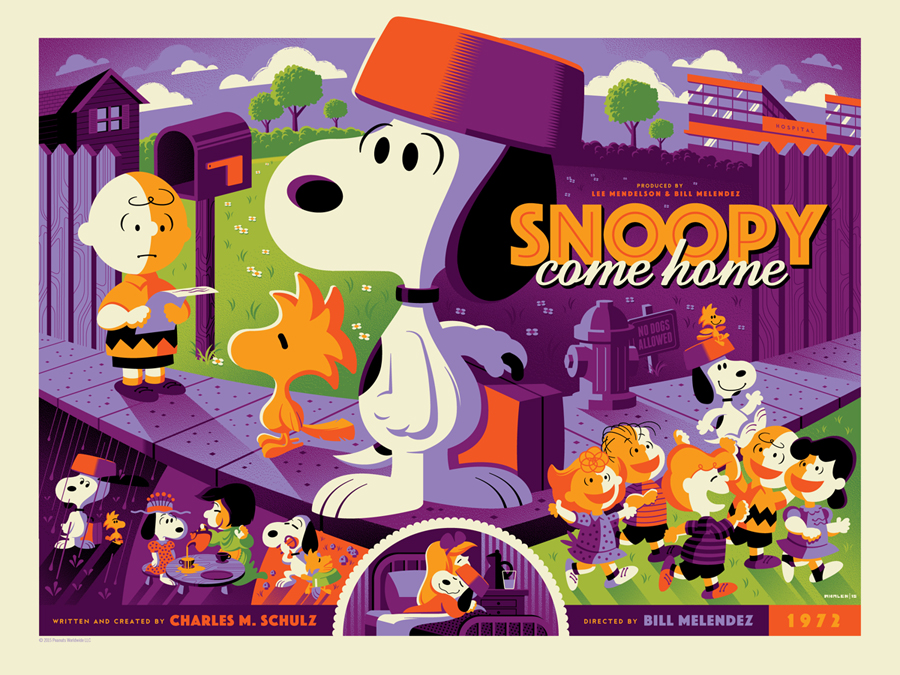 """Snoopy Come Home"" by Tom Whalen.  18"" x 24"" Screenprint.  Variant (Ed of 50, $100) : Foil (Ed of 10, $150)"