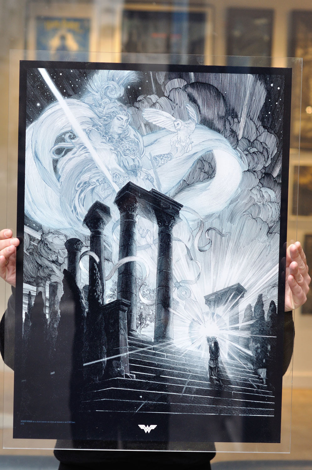 """""""The Blessing of Athena"""" by Nicolas Delort.  54 x 74cm 3-color Screenprint w/ pearl blue.  Ed of 10 S/N.  350 Euros ($378) (Plexiglass)"""