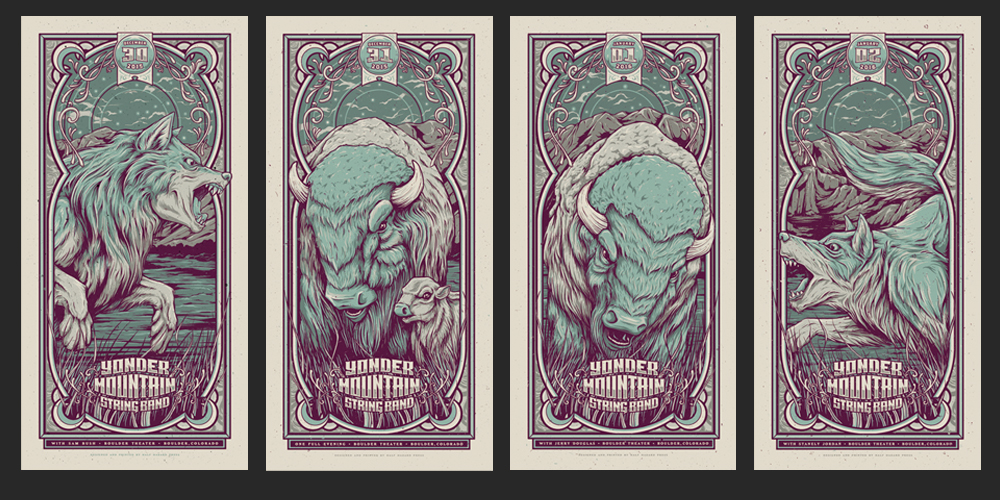 """Yonder Mountain String Band - Boulder, CO 2015/2016"" by Half Hazard Press.  (4) 12.5"" x 25"" 4-color Screenprints.  AP edition of 15.  $50 each : $160 set (variant)"