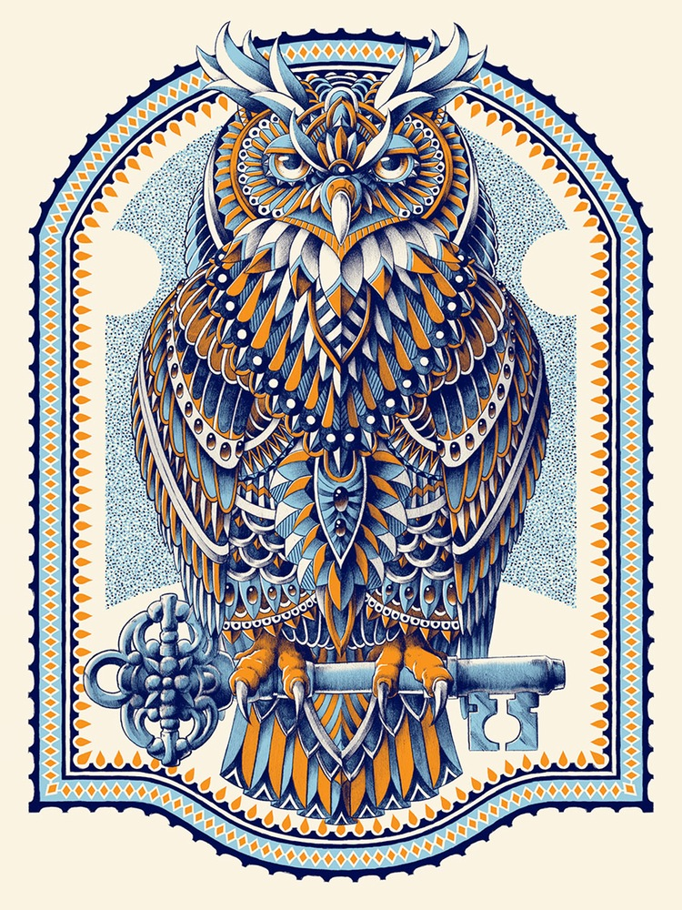 """Great Horned Owl"" by Bioworkz.  18"" x 24"" 3-color Screenprint.  $24.99"