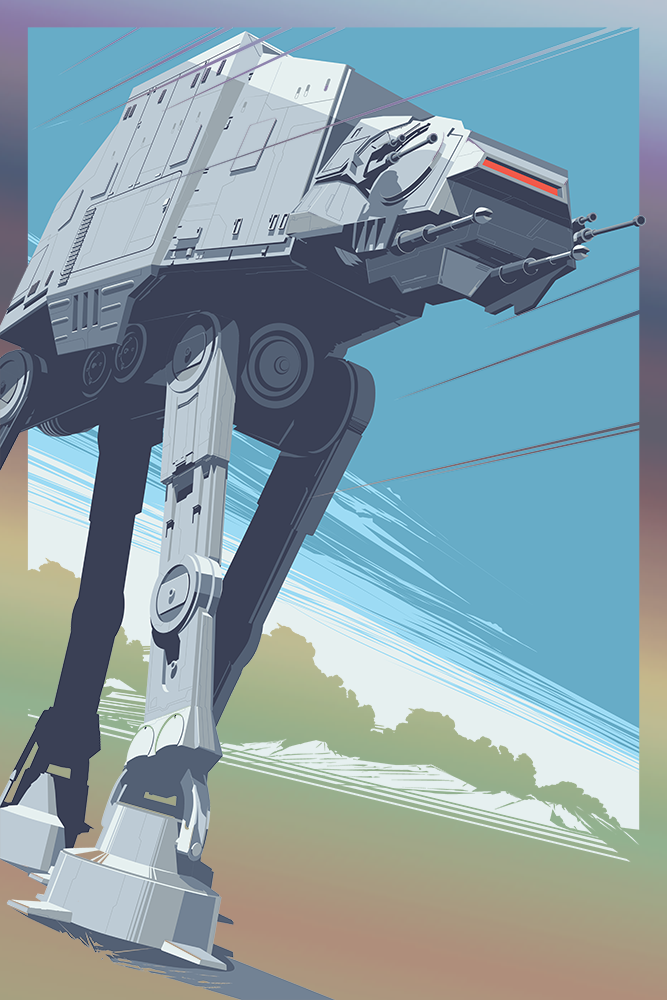 """AT - AT"" by Craig Drake.  24"" x 36"" Screenprint.  Ed of 150.  $65 (Foil)"