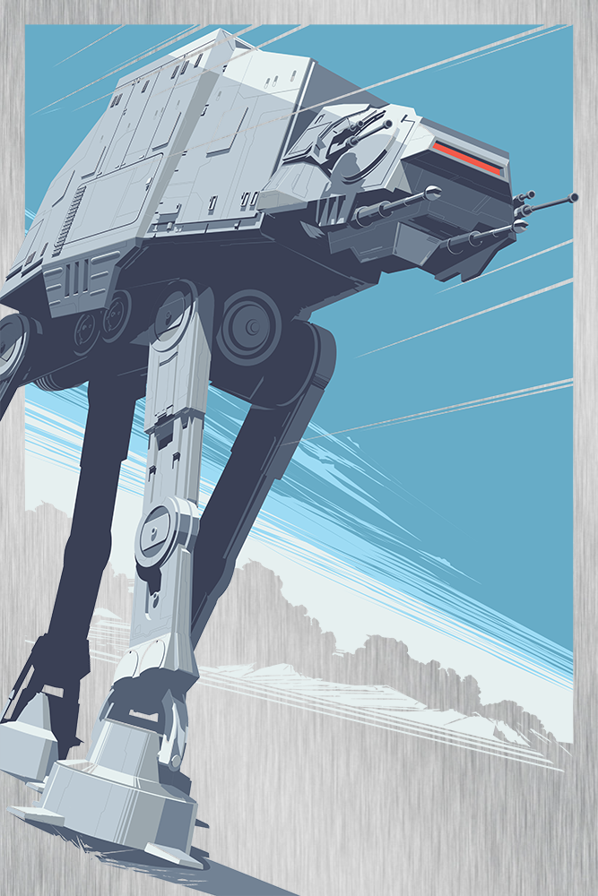 """AT - AT"" by Craig Drake.  24"" x 36"" Screenprint.  Ed of 25.  $275 (Metal)"