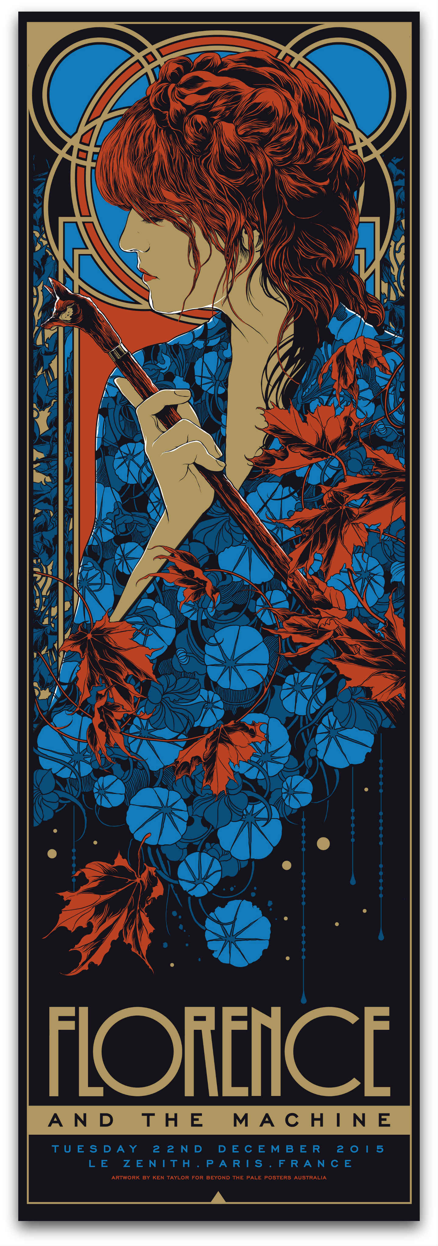 """Florence & The Machine - Paris, France 2015"" by Ken Taylor.  12"" x 36"" 5-color Screenprint.  Ed of 350 S/N.  $38"