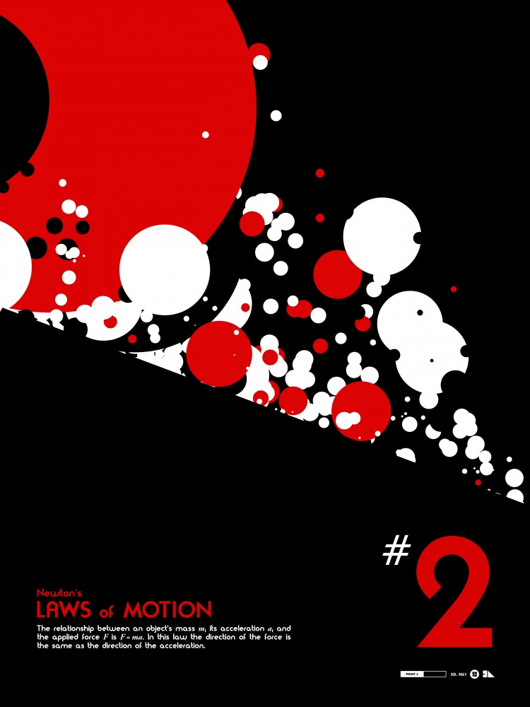 "'Laws of Motion 2' by Justin Van Genderen.  18"" x 24"" Screenprint.  Ed of 50.  $40 each : $110 set"