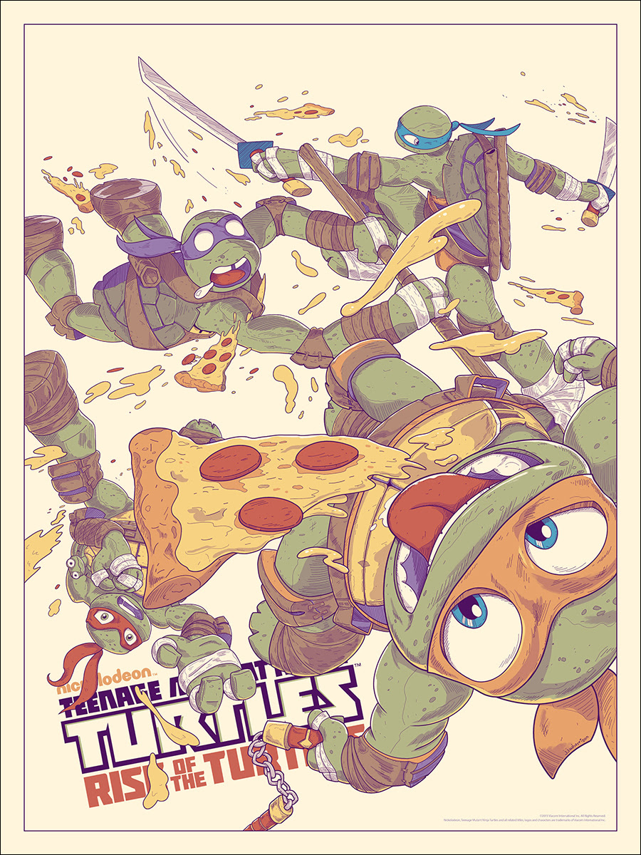 "TMNT: Rise of the Turtles by JJ Harrison. 18""x24"" screen print. Hand numbered. Edition of 250. Printed by D&L Screenprinting. $40"