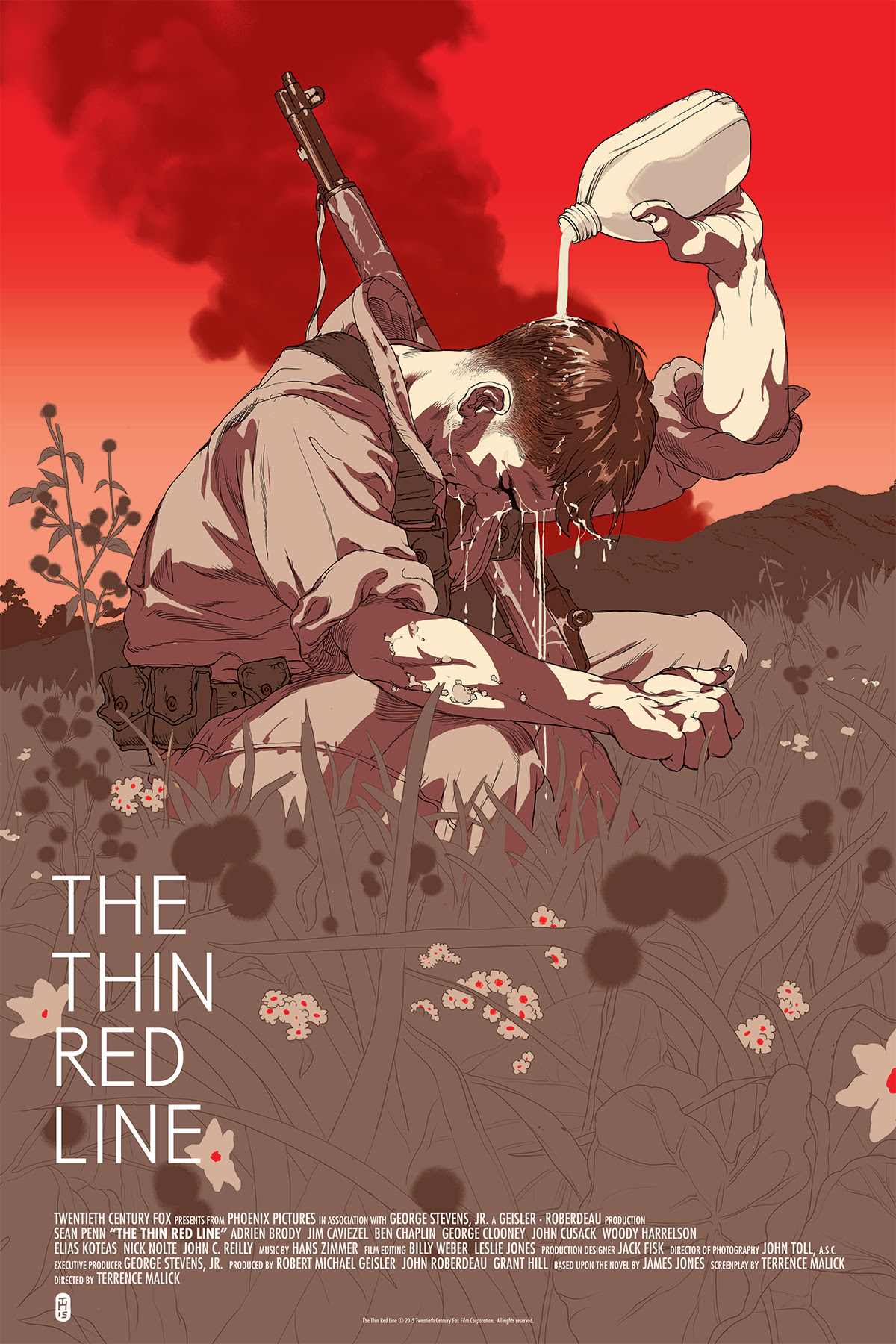 "The Thin Red Line (Variant) by Tomer Hanuka. 24""x36"" screen print. Hand numbered. Edition of 150. Printed by D&L Screenprinting. $65"