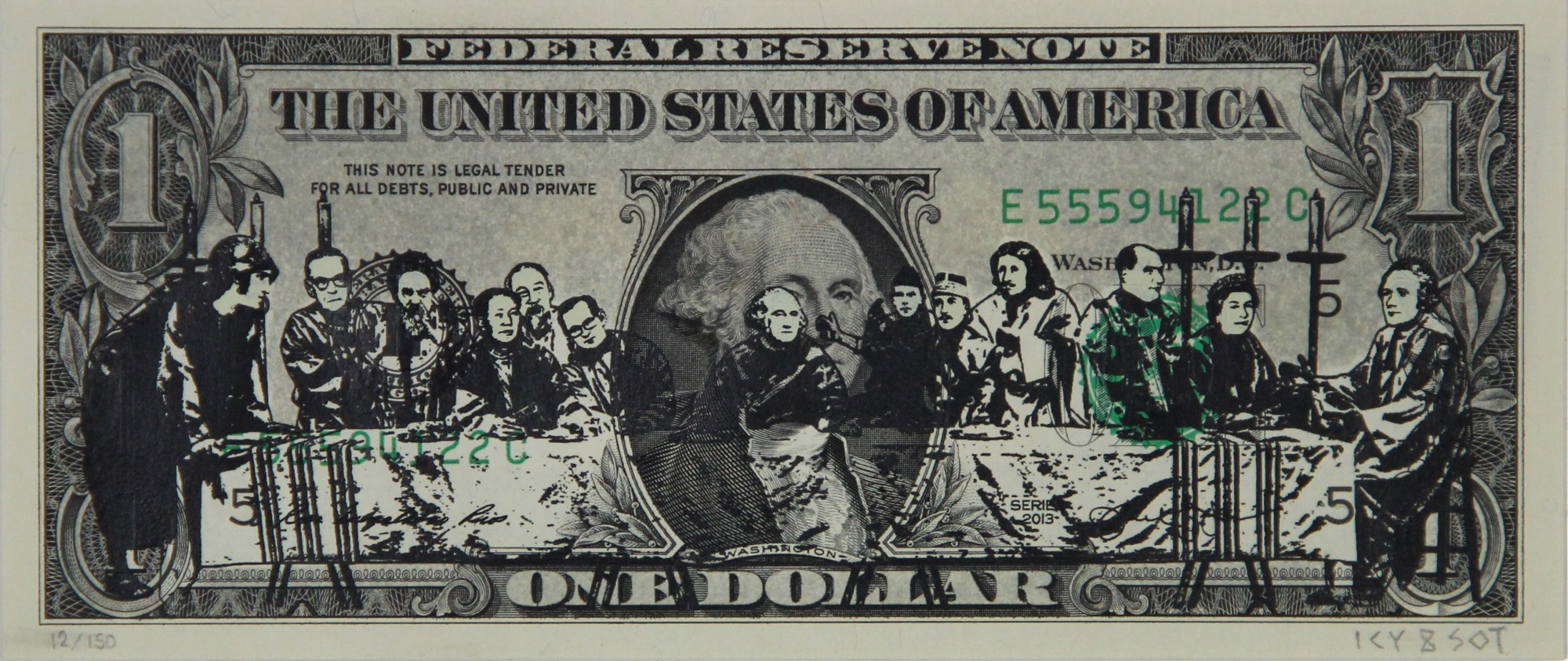 """The Last Supper"" by Icy and Sot.  2-layer Screenprint/spraypaint on $1 bill.  Ed of 150 S/N.  $55"
