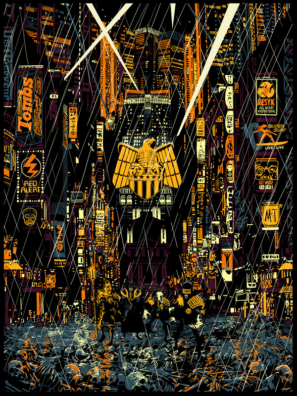 """Countdown to Necropolis"" by Raid 71.  18"" x 24"" 6-color Screenprint.  Ed of 100.  £30 ($43)"