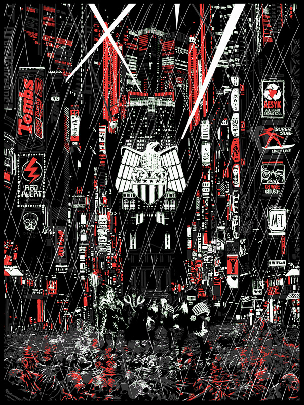 """Countdown to Necropolis"" by Raid 71.  18"" x 24"" 6-color Screenprint w/ GID.  Ed of 50.  £40 ($58)"