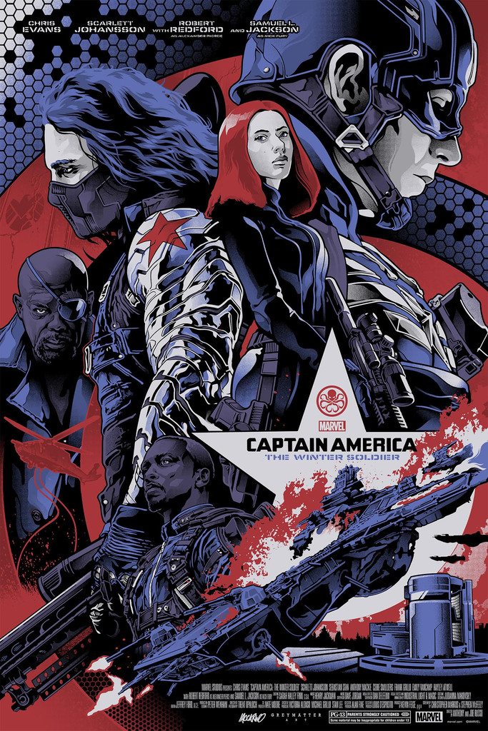 """Captain America: The Winter Soldier"" by Alexander Iaccarino.  24"" x 36"" Screenprint.  Ed of 225 N.  $45 (Metallic silver ore paper)"