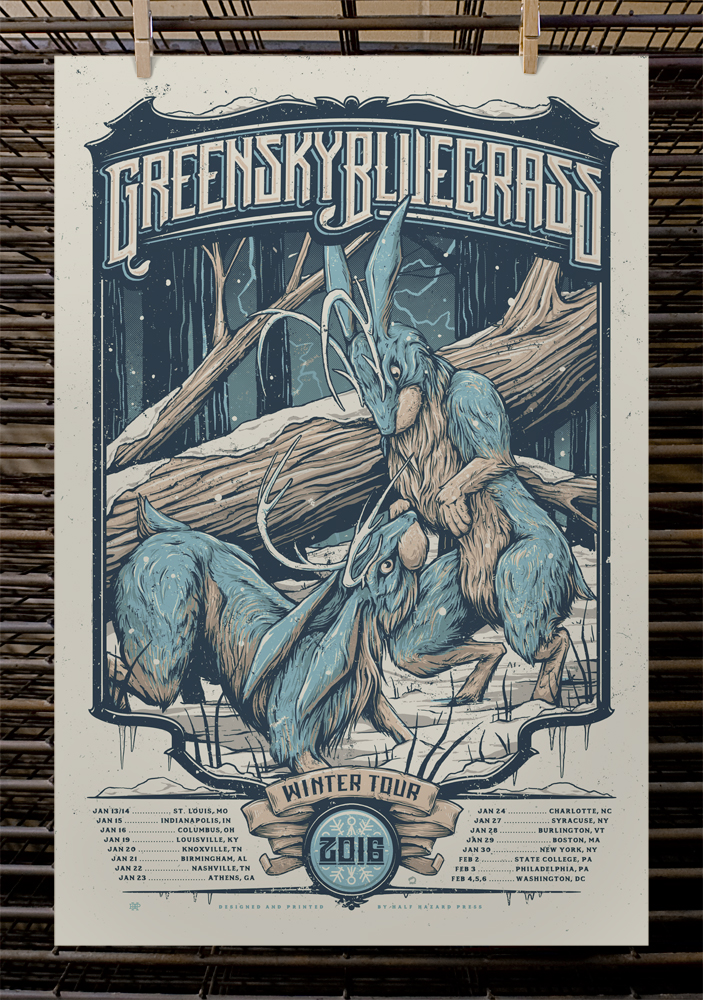 """Greensky Bluegrass - Winter Tour 2016"" by Half Hazard Press.  16"" x 24"" 4-color Screenprint.  AP edition of 40.  $40"