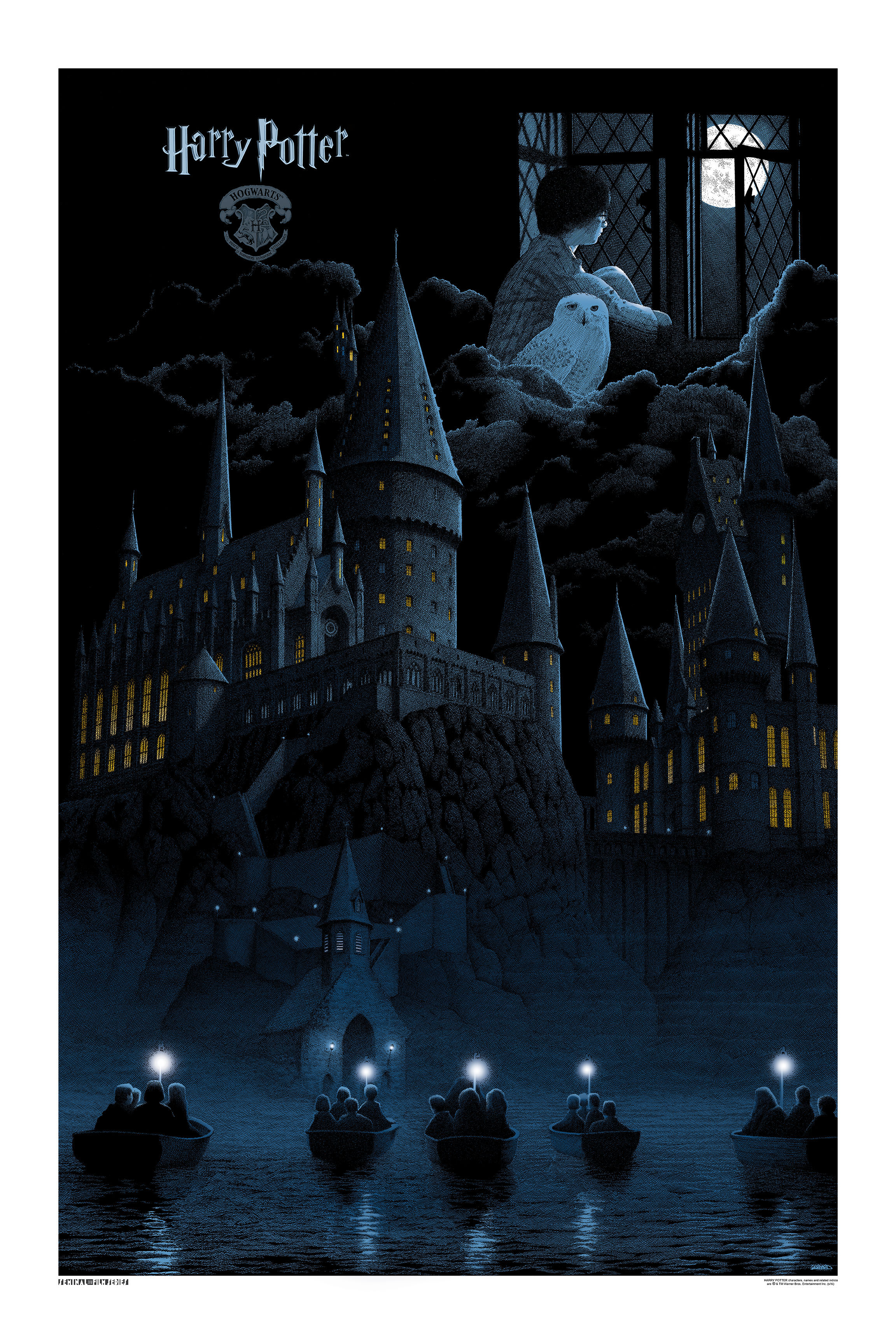 """Harry Potter And The Sorceror's Stone"" by Gerhard.  24"" x 36"" Screenprint.  Standard Blue (Timed edition, $65) : Foil (Timed edition, $150)"