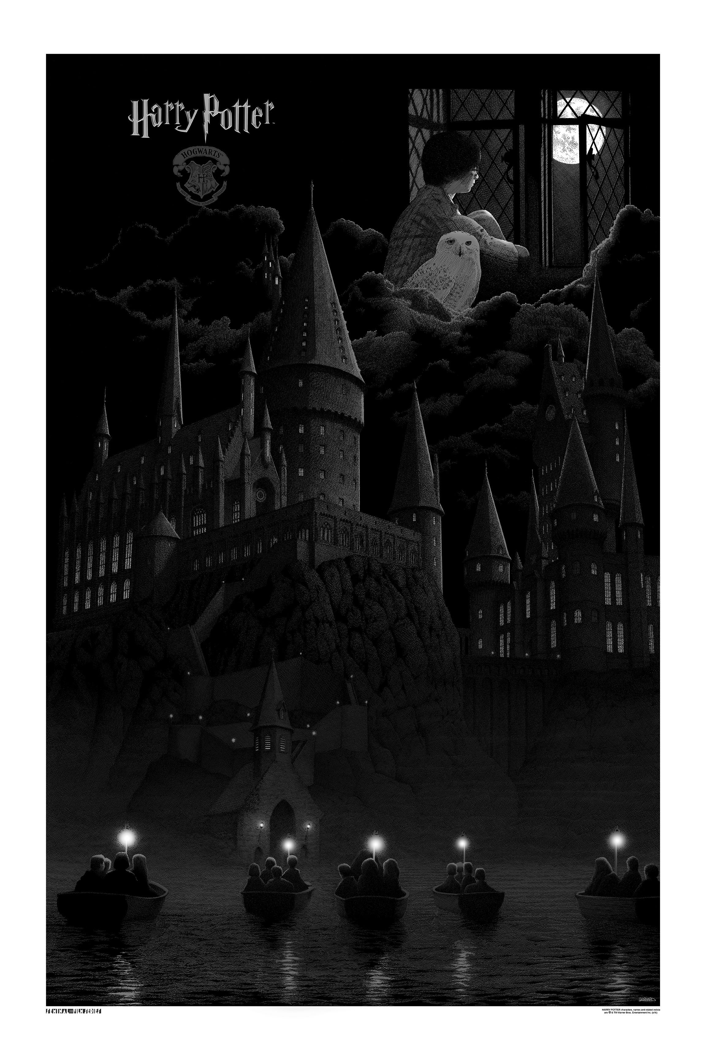 """Harry Potter And The Sorceror's Stone"" by Gerhard.  24"" x 36"" Screenprint.  Variant Grey (Timed edition, $100) : Foil (Timed edition, $150)"