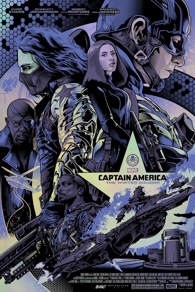"""Captain America: The Winter Soldier"" by Alexander Iaccarino.  24"" x 36"" Screenprint.  Ed of 100 N.  $70 (Holographic Foil paper variant)"