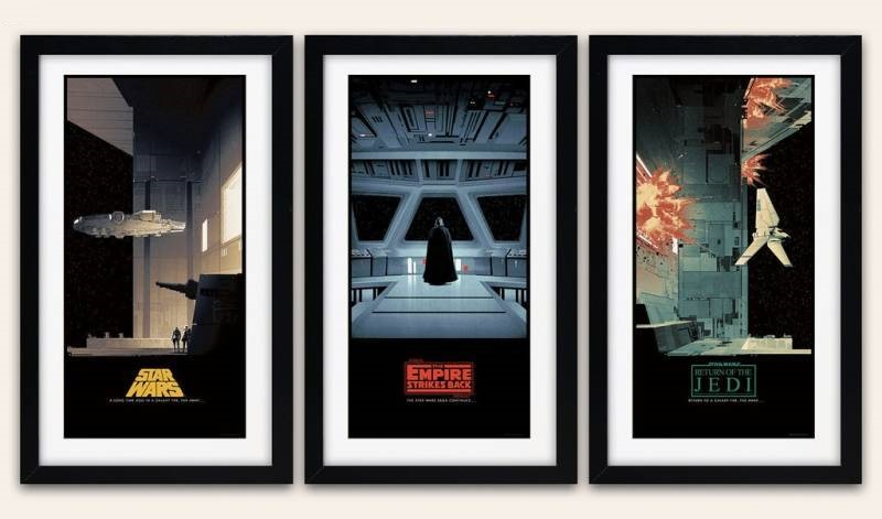 "'Star Wars Saga' by Matt Ferguson.  (3) 12"" x 24"" Screenprints.  Timed edition."