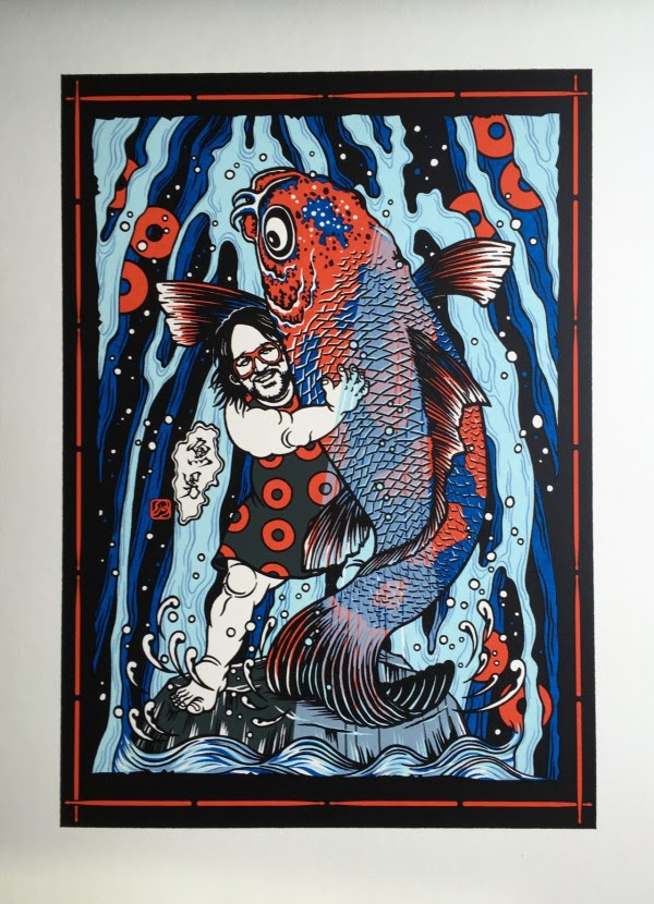"""Sakana Otoko"" by Daisuke Kimura.  386 x 544mm 5-color Screenprint.  Ed of 50 S/N.  $50 (Cream)"