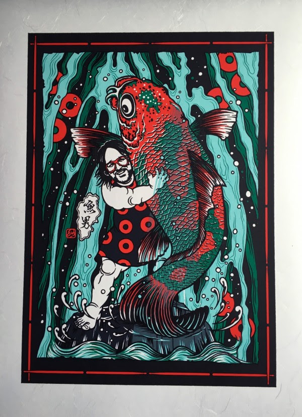 """Sakana Otoko"" by Daisuke Kimura.  386 x 544mm 5-color Screenprint.  Ed of 15 S/N.  $100 (Washi)"
