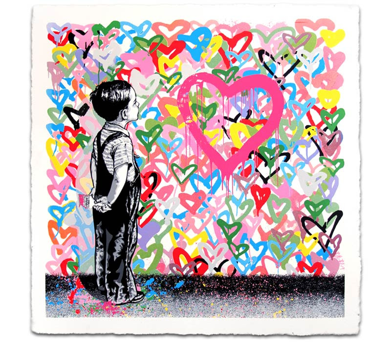 """With All My Love"" by Mr. Brainwash.  22.5"" x 22.5"" 10-color Screenprint.  Ed of 125 S/N.  $300"